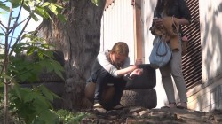 Girls caught peeing behind the warehouse  Outdoor spy pee