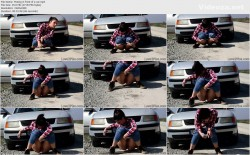 Peeing in front of a car