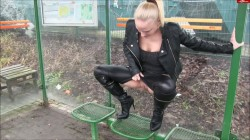 Lara-CumKitten - Brash Public Piss at stops seat