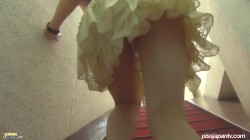 Frilly White Dress, Yellow Pee Pee