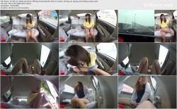 FF-081 01 Villain taxi driver offering mixed diuretic drink to women  Moving car peeing and wetting voyeur