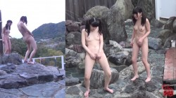 FF-249 03 Best girlfriends relaxing at Onsen  Friendly outdoor bath and urination