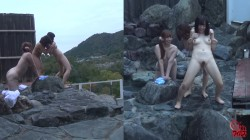 FF-249 02 Best girlfriends relaxing at Onsen  Friendly outdoor bath and urination