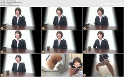 SL-185 04 Peeing desperation during interview and pleasant relief on the toilet