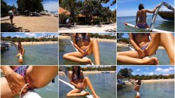 My_Wife_SexyDreams - EXTREME Public PEE from Boat at Tropical Beach Shore